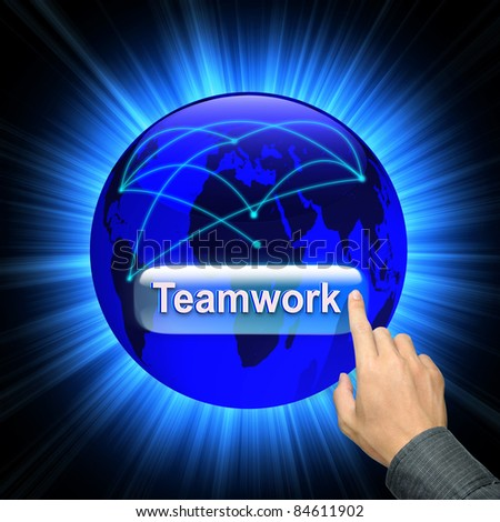 Businessman hand and word Teamwork - business concept - stock photo