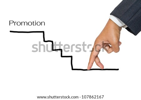 Businessman hand as finger walking to upstairs for promotion - stock photo