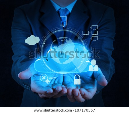businessman hand cloud 3d icon on touch screen computer as Internet security online business concept  - stock photo