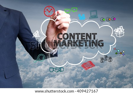 businessman hand draw cloud , icon cartoon with CONTENT MARKETING  text - stock photo