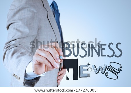 businessman hand draw design word BUSINESS NEWS as concept - stock photo