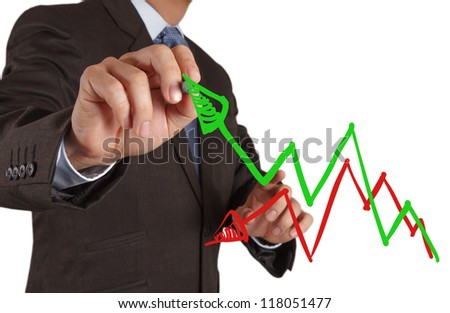 businessman hand drawing a chart and 3d graph - stock photo