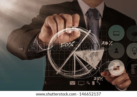 businessman hand drawing a pie chart and 3d graph - stock photo
