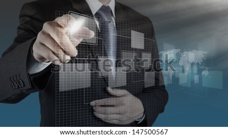 businessman hand drawing an empty diagram - stock photo