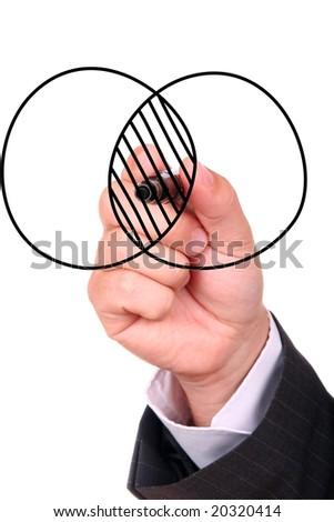Businessman hand drawing chart - stock photo