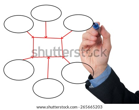 Businessman Hand drawing empty diagram on virtual whiteboard. Isolated on white background. Stock Image - stock photo