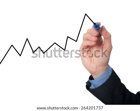 Businessman hand drawing graph of growth. Isolated on white background. Stock Image - stock photo