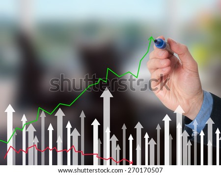 Businessman hand drawing graph of growth on visual screen. Man holding pencil. Business growth, technology, internet concept. Isolated on office. Stock Image - stock photo