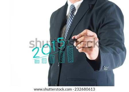 Businessman hand drawing growing graph 2015 new year in a whiteboard, isolated on white background - stock photo