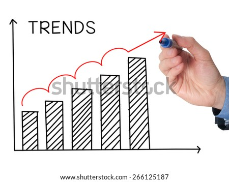 Businessman hand drawing growth trends chart isolated on white background. Stock Image - stock photo