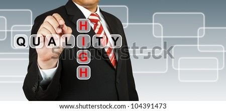 Businessman hand drawing High Quality - stock photo