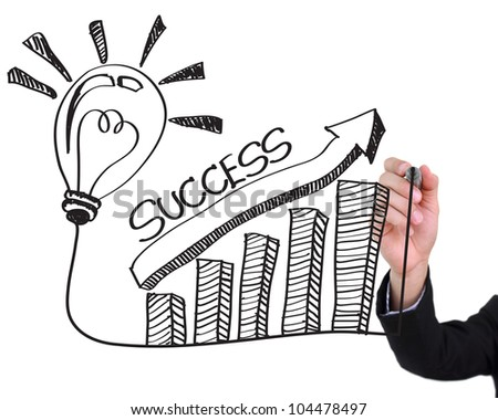 Businessman hand drawing light bulb with success concept isolated on white background. - stock photo