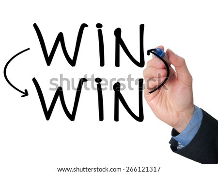 Businessman hand drawing Win Win situation concept with marker on transparent wipe board. Isolated on white. Stock Image - stock photo