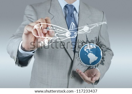 businessman hand draws airplane traveling concept - stock photo