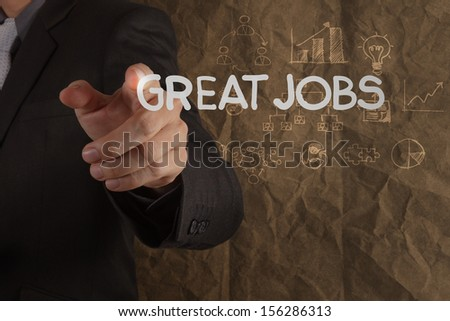 businessman hand draws great jobs words on crumpled recycle paper background as concept - stock photo