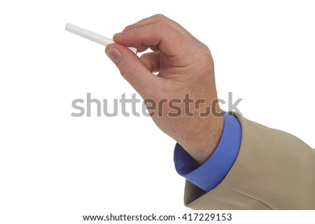 Businessman hand holding a pen isolated on white background - stock photo