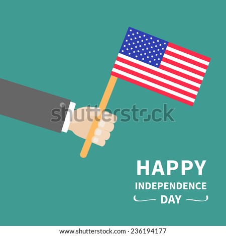 Businessman hand holding american flag Happy Independence day 4th of july Flat design  - stock photo