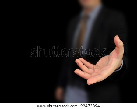 Businessman hand holding blank - stock photo
