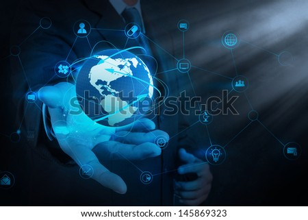 businessman hand holding business diagram on touch screen interface - stock photo