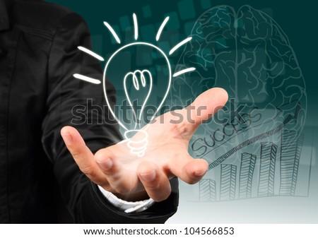 Businessman hand holding light bulb illustration idea concept. - stock photo