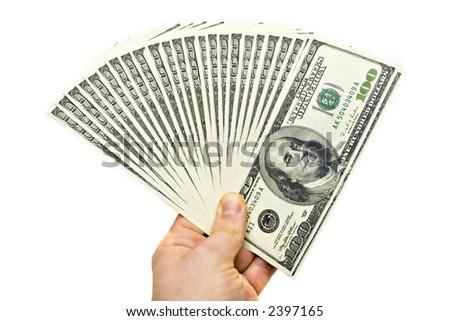 Businessman Hand Holding Money - stock photo