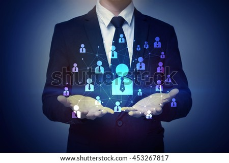 Businessman hand holding people connection, business concept - stock photo