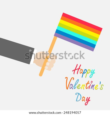 Businessman hand holding rainbow gay pride flag. Flat design style Happy Valentines day card  - stock photo