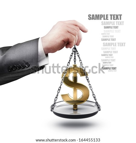 businessman hand holding Scale with symbols of currencies US dollar  isolated on white background High resolution  - stock photo