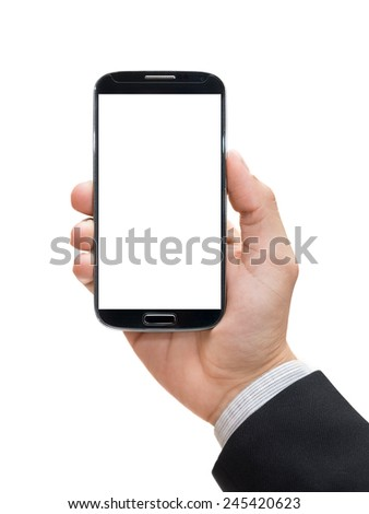 Businessman hand holding smart phone (Mobile Phone) - stock photo
