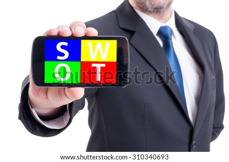 Businessman hand holding smartphone with swot analysis diagram. Strengths, weaknesses, threats, opportunities on mobile device concept - stock photo