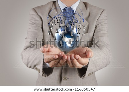 businessman hand holds social network as concept - stock photo