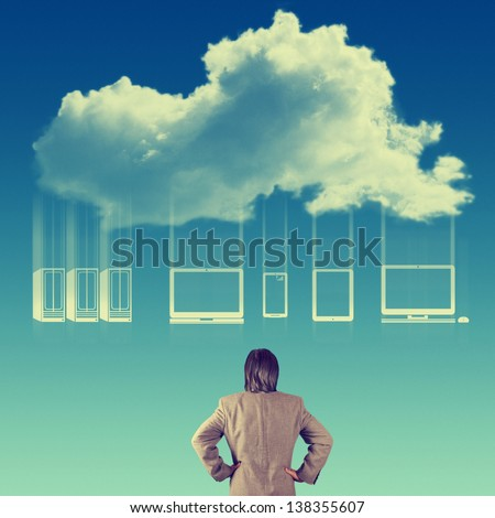 Businessman hand looking at a Cloud Computing diagram  as vintage concept - stock photo