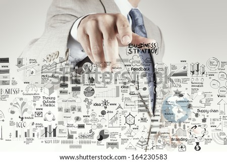 businessman hand pointing business strategy and success diagram as concept - stock photo