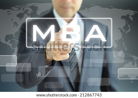 Businessman hand pointing to MBA sign on virtual screen - education & business abstract - stock photo