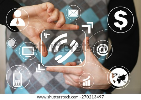 Businessman hand press telephone button sign virtual - stock photo