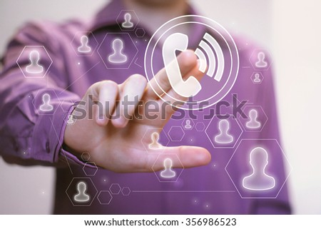 Businessman hand press telephone button web icon - stock photo