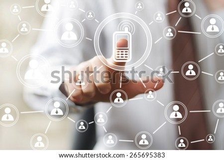 Businessman hand press telephone web button sign - stock photo