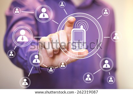 Businessman hand press web icon telephone button - stock photo