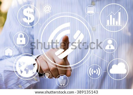 Businessman hand press web telephone button sign - stock photo