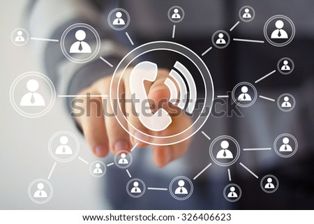 Businessman hand press web telephone icon button - stock photo