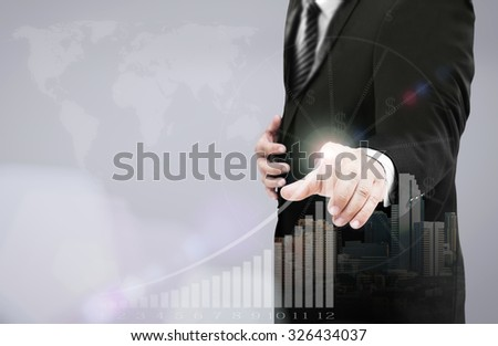 Businessman hand presses button on blurred world map with futuristic communication interface. Click Start Contact Us Internet Technology Selecting Choosing Invest Happy New Year 2016 CSR concept. - stock photo