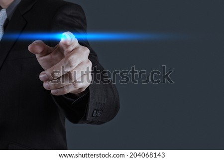 businessman hand pressing button with contact on virtual screens as concept - stock photo