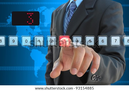 businessman hand pressing 3 floor in elevator - stock photo