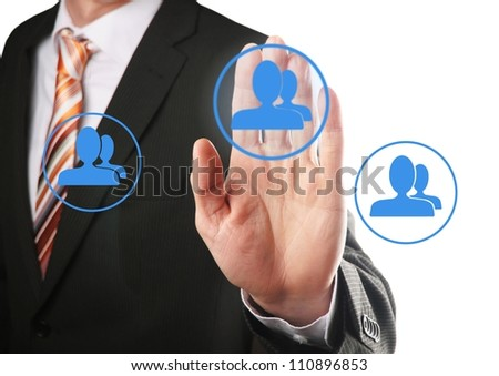 businessman hand pressing social network icon on a virtual background - stock photo