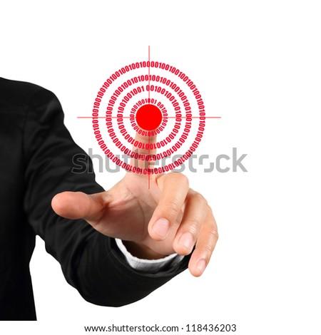 Businessman hand pushing red goal symbol isolated on white background - stock photo