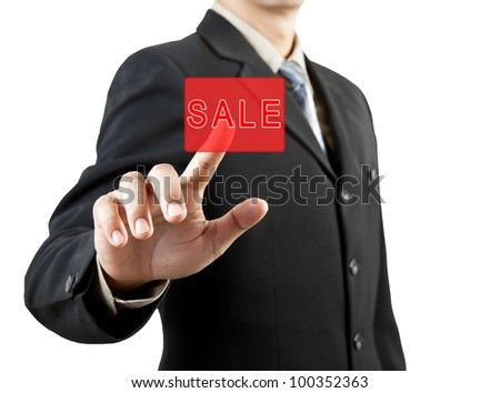 businessman hand pushing sale button - stock photo