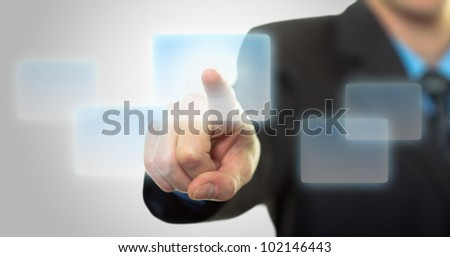 Businessman hand pushing the virtual button as concept - stock photo