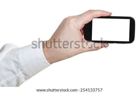 businessman hand shooting by smartphone with cut out screen isolated on white background - stock photo