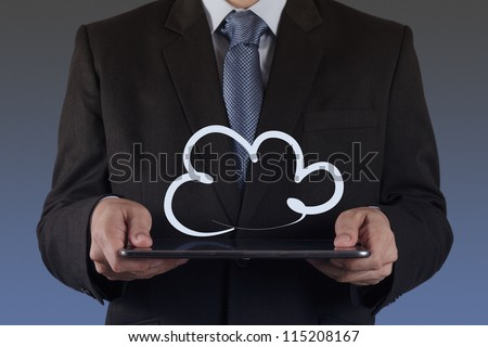 businessman hand show a cloud network concept - stock photo