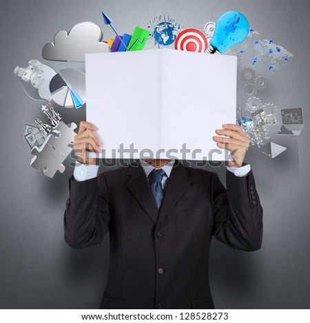 businessman hand show book of success business as concept - stock photo